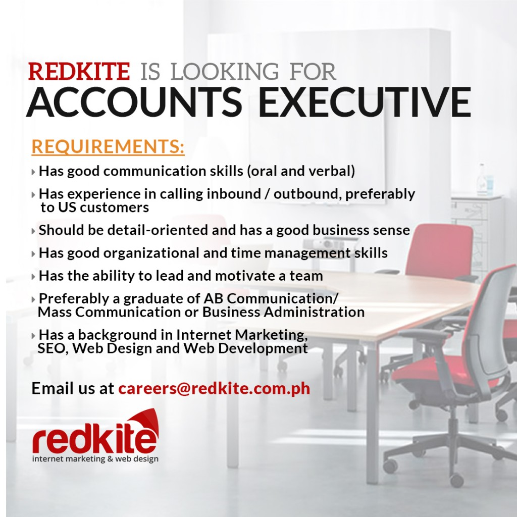 Accounts Executive Hiring – Redkite Philippines