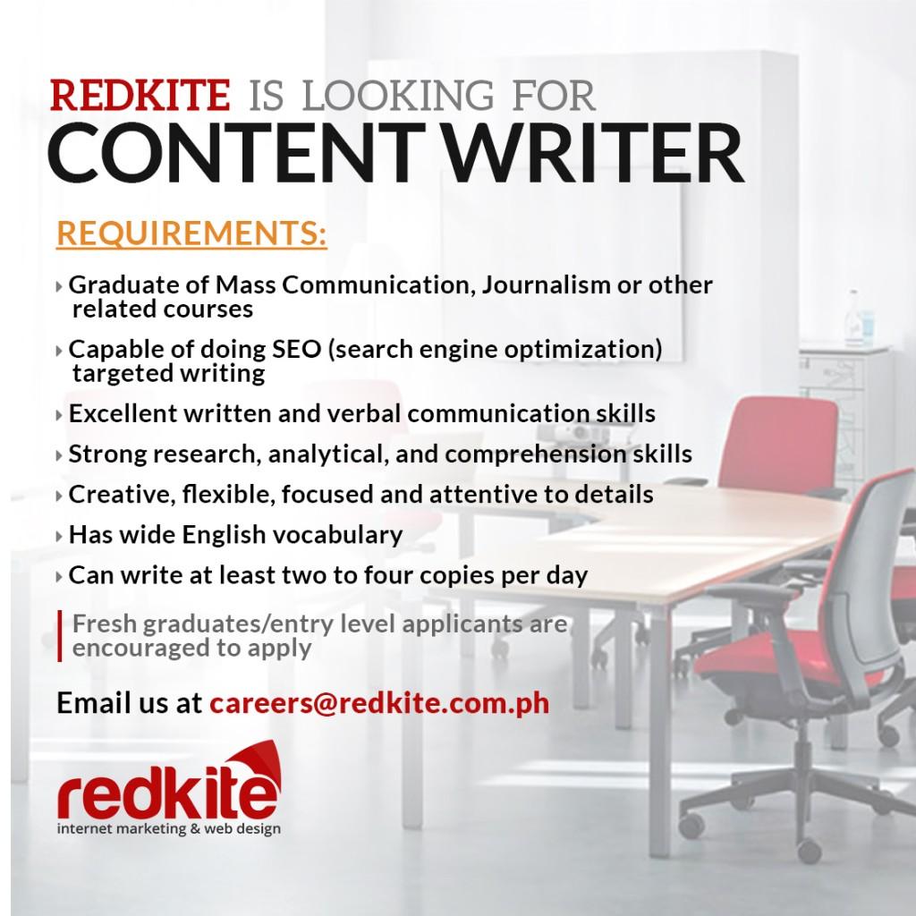Content Writer Hiring – Redkite Philippines