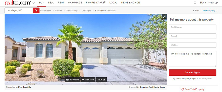 Analysis of Realtor's individual property page